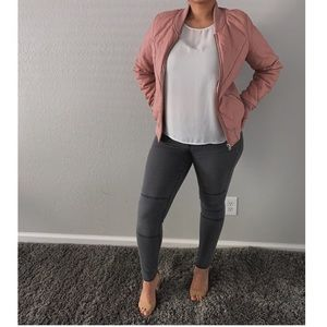 JustFab Pink Leather Bomber Jacket - Size L